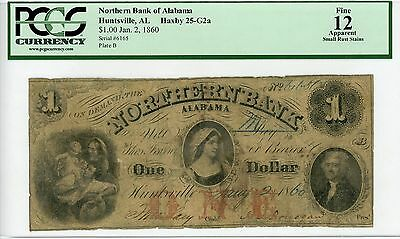 1860 $1 The Northern Bank - Huntsville, ALABAMA Note PCGS Fine 12