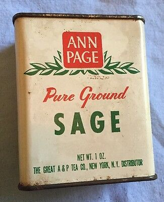 ANN PAGE Brand Pure Sage Spice Tin Vintage Advertising New York USA A&P Tea Co