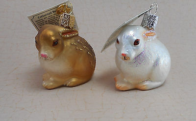 Old World Christmas Ornament Cotton Tail Bunny Glass Ornaments Lot of 2