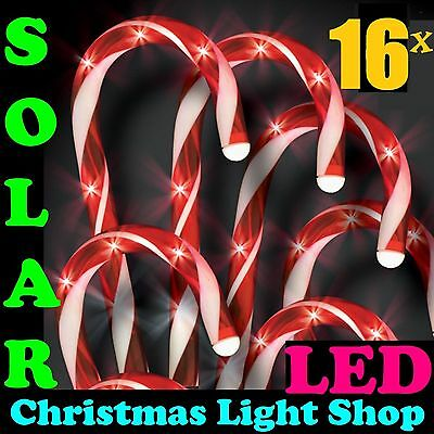 2x Packs of 8 Solar LED Red Candy Canes Christmas Garden Path Lights Outdoor NEW