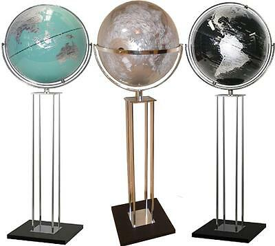 GIANT World Globe Floor Stand Silver Black Teal Wedding Home Decor Gift 43x140cm