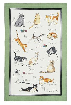 """""""Cats"""" Linen Tea Towel by Ulster Weavers features a number of breeds"""