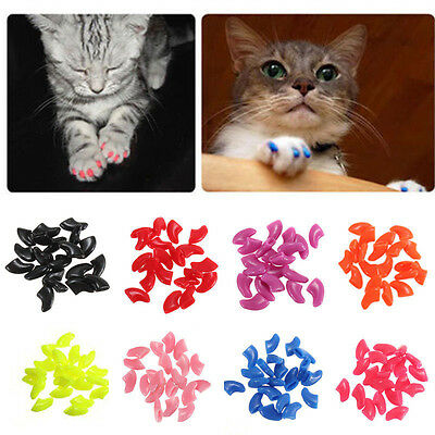 20pcs Soft Cat Pet Nail Caps Claw Control Paws off + Adhesive Glue Size XS-L