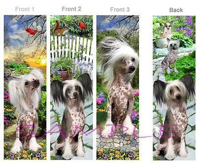 3 Lot-CHINESE CRESTED BOOKMARK Hairless Dog Book Mark ART Card figurine Ornament