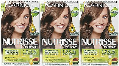 3 x Garnier Nutrisse Creme Cream Permanent Hair Dye  5 1/2 Light Medium Brown