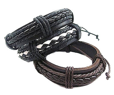 Leather Wristband Quality layer CowHide & Rope Detail (one size adjustable)