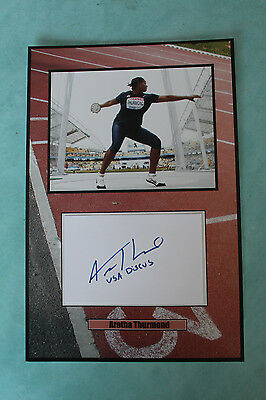 Aretha Thurmond American discus thrower signed  Autograph 20 cmx 30cm
