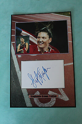 Stephanie Brown Trafton American track and field signed  Autograph 20 cmx 30cm