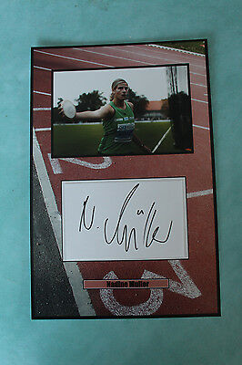 Nadine Muller German discus thrower Autograph signed 20 cmx 30cm