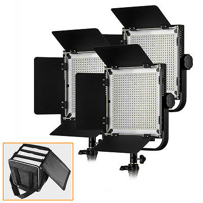 US Stock 3*Pergear 576 LED Video Photography Light W/ Filters + Free Bag