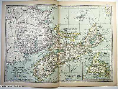 Original 1897 Map of New Brunswick, PEI & Newfoundland