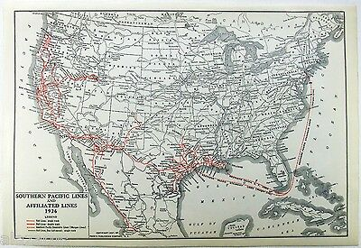 Original 1927 Dated Map of the Southern Pacific Railroad