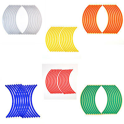 Reflective Motorcycle Car RIM Stripe Wheel Decal Tape Sticker 16 Strips 6Colors