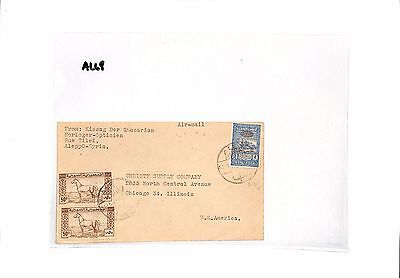 AL68 1946 SYRIA Aleppo to USA Airmail Cover. Fiscal stamp