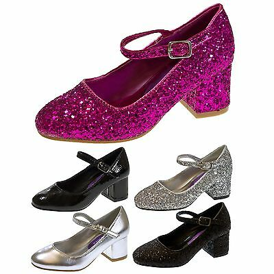 Girls Faux Leather Low Block Heel Party Shoes Mary Jane Kids Wedding Prom Size
