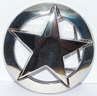 Chrome Sheriff US Marshal Star Badge Buckle to attach to own belt Cowboy Lawman