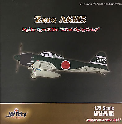 """Witty Wings - 1/72 Zero A6M5 Fighter Type 52 Hei """"352nd Flying Group""""  (Diecast)"""