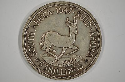 1947 South Africa Silver 5 Shillings F-VF KM#31