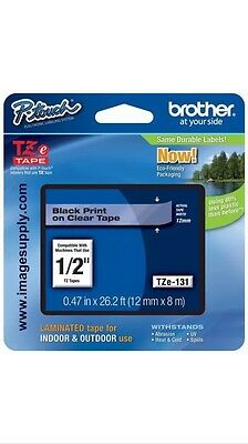 Brother P-Touch TZe-131 BLACK ON CLEAR Label Tape TZe131 / Ptouch TZ131 PT-1880