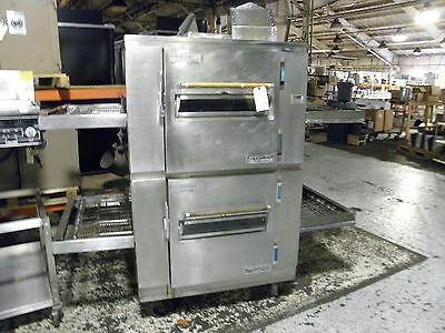 "Lincoln 1000 Double Stack Nat Gas 32"" Sandwich Bread Pizza Conveyor Oven"