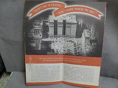 Hotel St Francis- San Francisco, CA  Vintage Brochure -lithograph