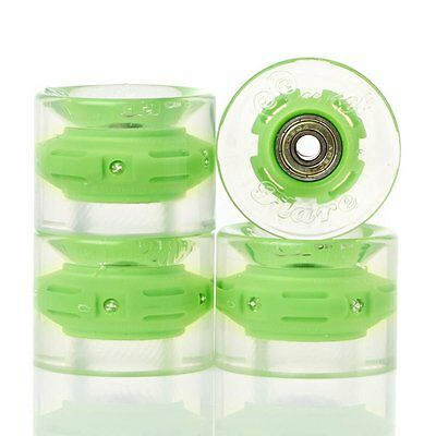 SUNSET SKATEBOARDS Green 59mm Cruiser Flare Led Wheels and ABEC-7 Bearings