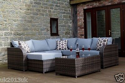 RATTAN GARDEN FURNITURE SET 6SEATER SOFA MODULAR PATIO CONSERVATORY DAYBED brown