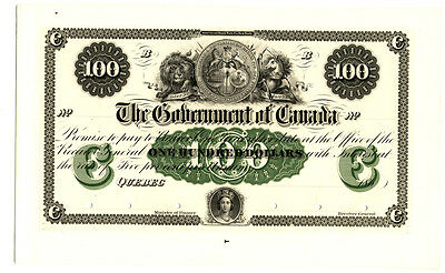 Canada $100 1862 Issue Bearer Note Front Proof