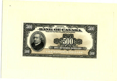 Bank of Canada $500 1935 Issue Front & Back Proof Choice/Gem Uncirculated