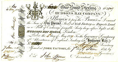 Hudson Bay 1 Pound Note 1820/1821 Uncirculated