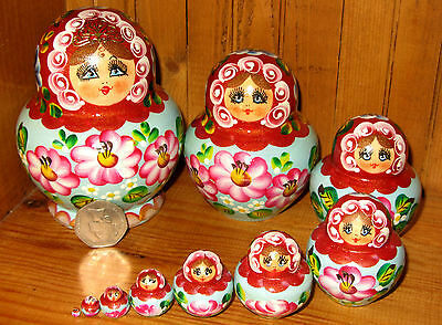 Genuine Russian nesting dolls 10 Brown Green Matryoshka hand painted by SIMAKOVA