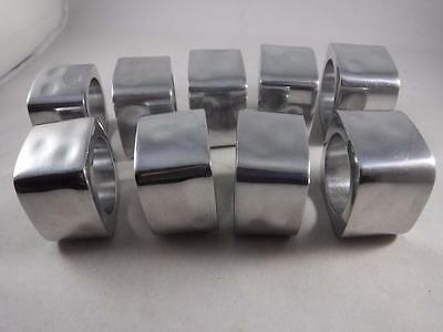 Hammered Silver Metal Aluminum Set of 9 Heavy Square Napkin Rings