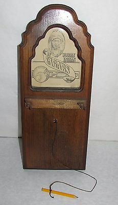 Vintage Wooden Indian Cigars Tobacco Wood Wall Notepad Holder w/Pencil