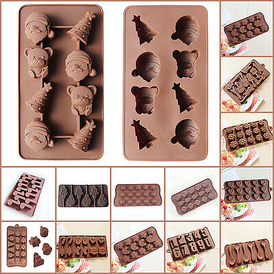 Silicone Chocolate Mould Ice Cube Tray Jello Soap Cookies Molds Decor Christmas