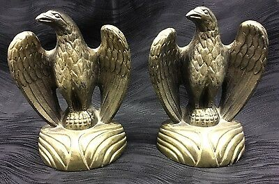 Pair of Vintage Cast Metal Brass Finish Eagle Bookends For Office Hearth Shelf
