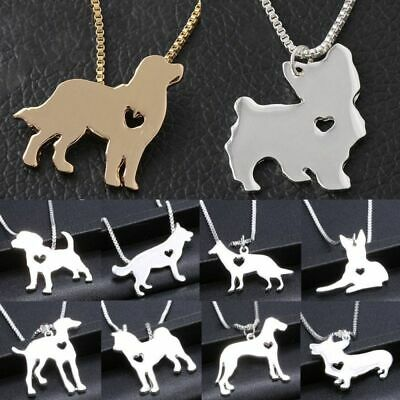 Silver Dog Puppy Pendant Necklace Box Chain Bulldog Dachshund Shepherd Charm New