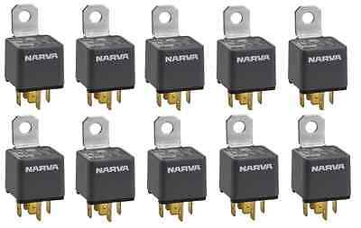 10 x Narva 68024 - 5 Pin 12V 30A Normally Open Relay Car Truck Wiring
