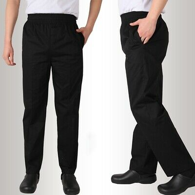 Chef Work Pants Canteen Restaurant Staff Uniforms Trousers Cooking Black Slacks