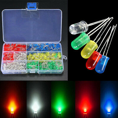 500pcs 5mm White/Yellow/Red/Blue/Green LED Light Assortment Diodes Kit DIY