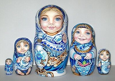 UNIQUE Russian Dolls 5 Gzhel style Girls CHMELEVA exclusive HAND MADE BABUSHKA