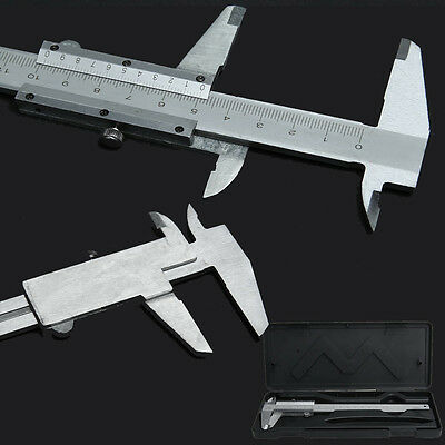 "Steel Vernier Caliper with self lock 6"" 0-150mm Metal Calipers Gauge Microm E0Xc"