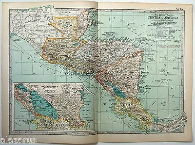 Original 1902 Map of Central America - A Nicely Detailed Color Lithograph