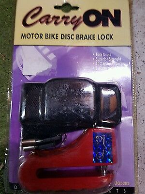 Motorcycle bike disc brake lock. Brand new. Carry on with key