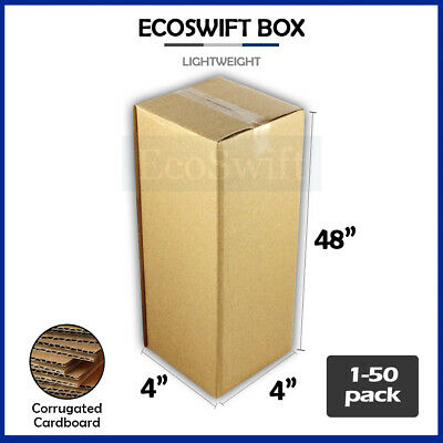 "1-50 4x4x48 ""EcoSwift"" Cardboard Packing Mailing Tall Long Shipping Box Cartons"