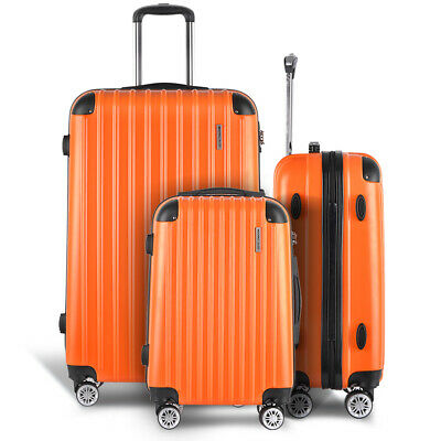Orange Hard Shell Suitcase Set 3p Luggage Suit Case Trolley Travel TSA Lock NEW