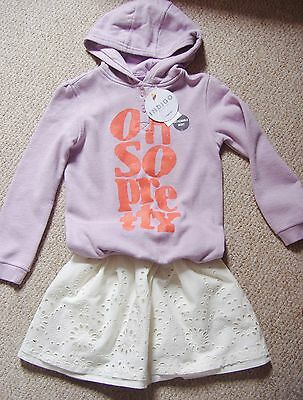 Girls 2 Piece Outfit Of Hooded Top With Detachable Skirt From M&s Age 3 To 7 Yrs