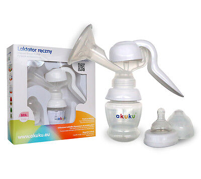 New BREAST PUMP AKUKU A0297 Comfort Manual Natural BPA FREE with bottle teat