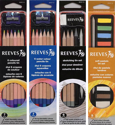 Reeves artists Colouring Pencil Red Metal Tin Sets for students, designers