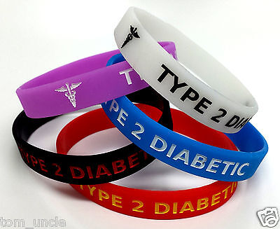 5x TYPE 2 DIABETIC XL LARGE 230mm diabetes Wristband MEDICAL ALERT BRACELET