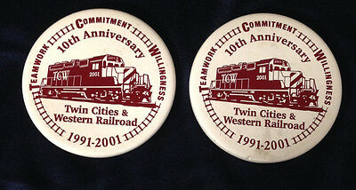 """Twin Cities & Western Railroad 2001 Pair 4"""" Coasters Tcw 10Th Anniversary Mn Rr"""